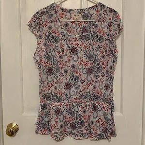 Short Sleeved Red, White, & Blue Floral Blouse